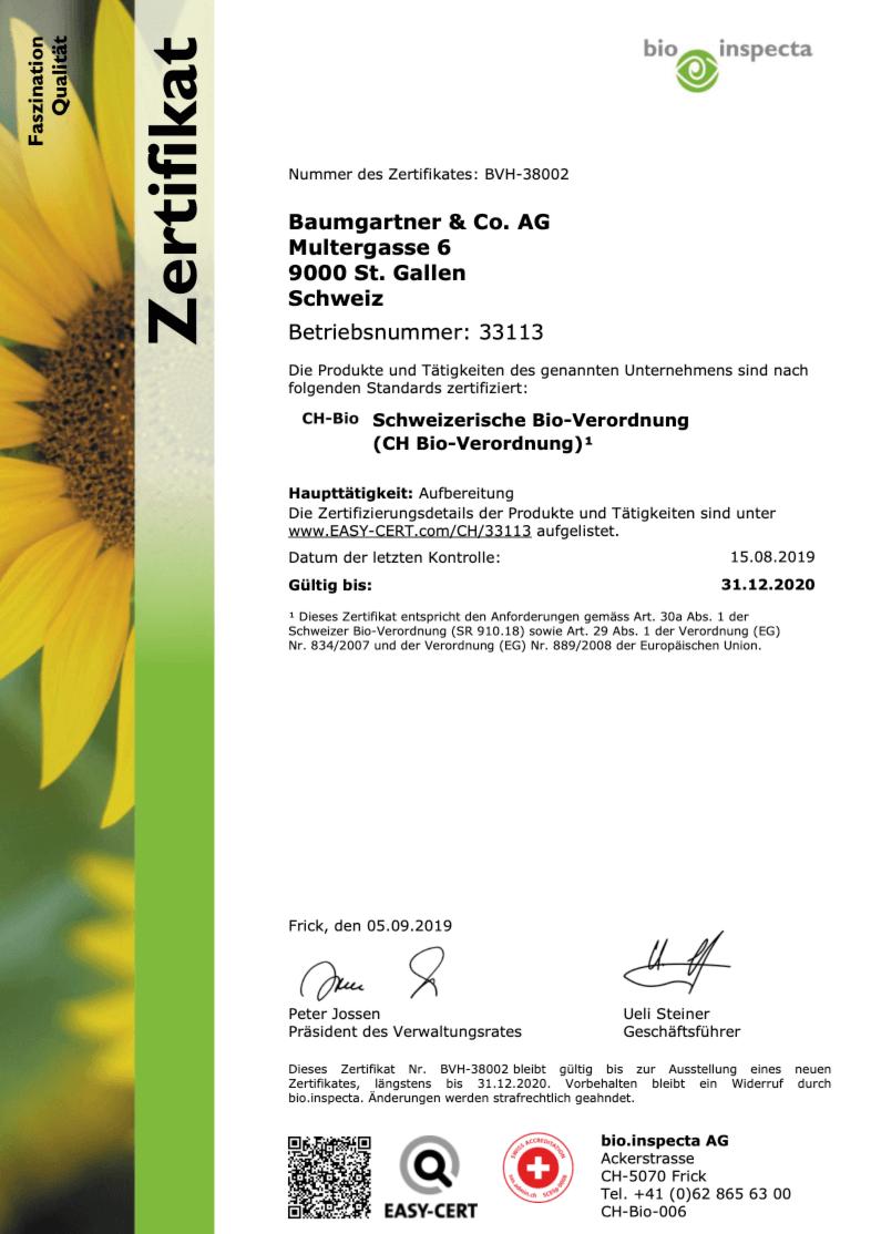 bio inspecta zertifikat kaffee baumgartner 2020